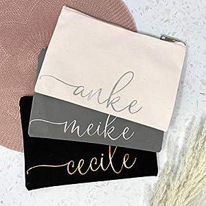 Kosmetikbeutel personalisiert mit Namen – Wunschfarbe grau schwarz rosa – Roségold – mit Innenfutter – groß