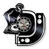 wtnhz LED-DJ Disco de Vinilo Reloj de Pared diseño Moderno Tema Musical DJ Banda de Rock combinación CD Reloj Colgante de Pared decoración del hogar