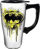 Spoontiques 12851 Batman Graffiti Ceramic Travel Mug, 18 ounces, White