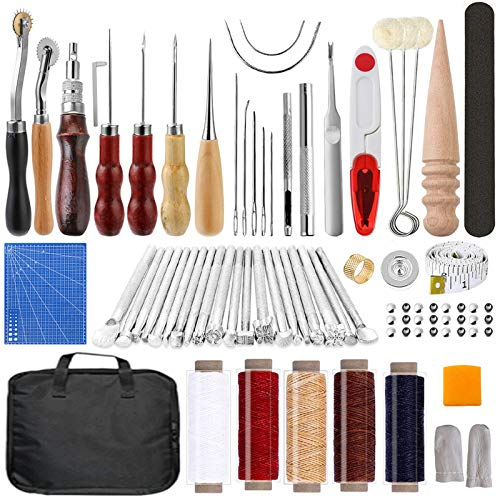 Leather Working Tools Kit 103 Pcs, Leather Craft DIY Tools with Stamping Tool, Cutting Mat, Snaps Rivets Kit, Stitching Groover, Waxed Thread, Leather Tool Kit for Stitching Punching Cutting Sewing