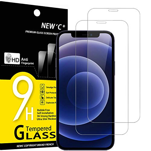 """NEW'C Lot de 2, Verre Trempé Compatible avec iPhone 12 Mini (5.4""""), Film Protection écran sans Bulles d'air Ultra Résistant (0,33mm HD Ultra Transparent) Dureté 9H Glass"""