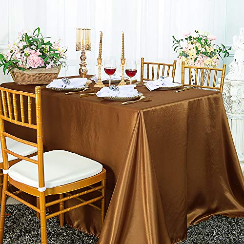 """Wedding Linens Inc. 90"""" x 156"""" Rectangular Seamless satin tablecloths Table Cover Linens for Restaurant Kitchen Dining Wedding Party Banquet Events - Copper"""