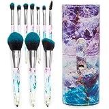 Acrylic Makeup Brush Set with Blue Travel Storage Case (10 Pieces)