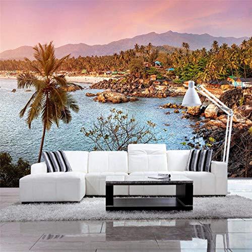 ZJfong 3d tapijt Scandinavisch eenvoudig mooi landschap behang TV achtergrond woonkamer wanddecoratie 220 x 140 cm.