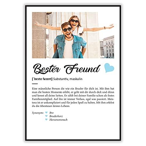 GRAVURZEILE Definition Poster & Kunstdrucke mit eigenem Foto - Geschenke für Bester Freund - Personalisierte Wandbilder - Wanddeko Deko für Wohnzimmer Schlafzimmer Flur & Diele