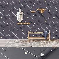 激安 壁紙 シール,はがせる 壁紙,壁紙 補修 シール,壁紙 おしゃれポリ塩化ビニールの自己接着壁紙、寮の寝室の部屋のための自己接着防水および暖かい壁紙、改装された星空の壁のステッカー-グレー_45cmX10m