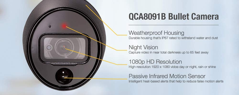 Q-See (QCA8091B-4) Home Security Camera, 1080p Analog HD Add-On Security CCTV Bullet PIR Surveillance Camera 4 Pack, Night Vision, Indoor and Outdoor, Black