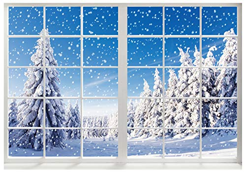 Funnytree Winter Landscape Christmas Window Photography Backdrop Snow Pine Trees Scenery Background Baby Kids Party Decorations Portrait Cake Table Banner Photo Studio Props 7x5ft