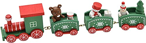 new arrival Christmas Mini Train Decoration outlet sale - Cute Wooden Train Set Kids Gift wholesale Home Party Christmas Decor (Green) online