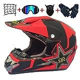 Casco de Descenso para jóvenes Adultos Regalos Gafas máscara Guantes Bolsillo Neto BMX MTB ATV Bicicleta Carrera Integral Integral Casco,E,XL