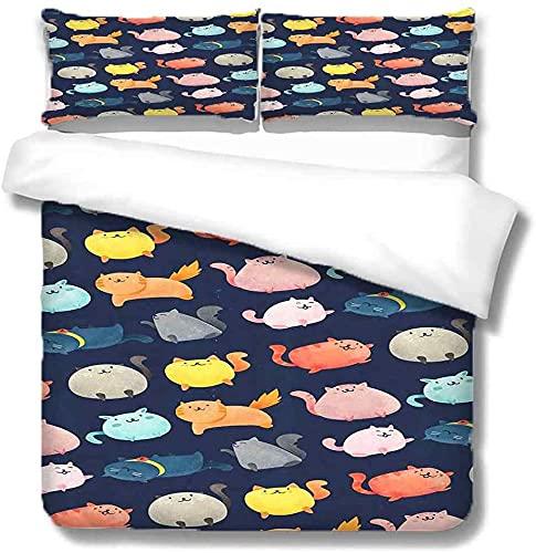 YANHUA Juego de ropa de cama de 135 x 200 cm con dibujos animados azules y gatos, funda nórdica con cremallera para niños y niñas (200 x 200 + 80 x 80 cm)