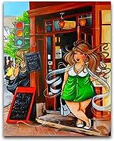 クロスステッチキット刻印刺繡-漫画ファットレディガール-大人の初心者スターターキット-DIYクロスステッチ針仕事フルレンジのプリントパターンクラフト家の装飾ギフト11CT(16x20インチ)