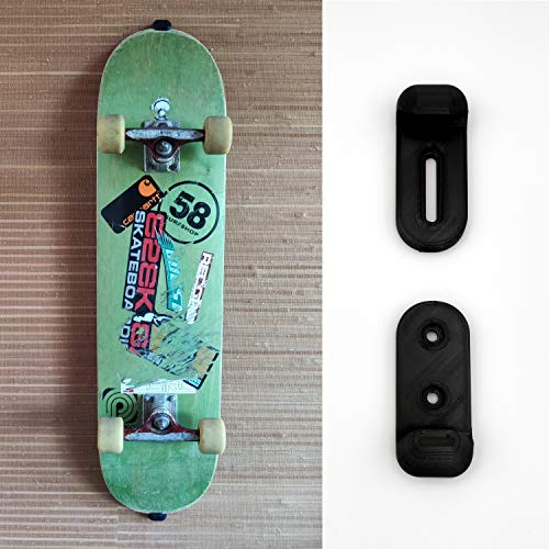 Skateboard Wandhalterung (verstellbar) – Backside sichtbar - Professioneller 3D-Druck – Halter/Halterung zur Befestigung & Aufhängen von Skate Board´s an der Wand – Wandhalter vertikal in Schwarz