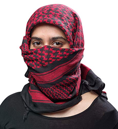 Outdoor Hiking Shemagh Military Tactical Desert Keffiyeh Cotton Light Weight Protective Fashion Head Face and Neck Scarf Chilli Red