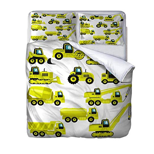 HLLIZ Single Duvet Cover Set, Yellow car Printed Quilt Bedding Set 2Pcs With Zipper Closure In Polyester, 1 Quilt Cover With 1 Pillowcases,140 cm W X 200 cm H