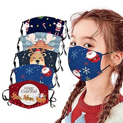 F_topbu 5pc Kids Christmas Reusable Face Bandanas Washable Breathable Face_Masks Santa Claus Snowman Reindeer Print Face Cotton Covering for Childrens