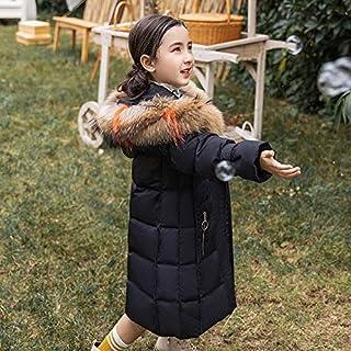 FDSAD Chaqueta Térmica para Niñas Niñas Largas Ropa Gruesa para Niños Chaqueta De Invierno Adecuada para Altura 130 Cm Negro
