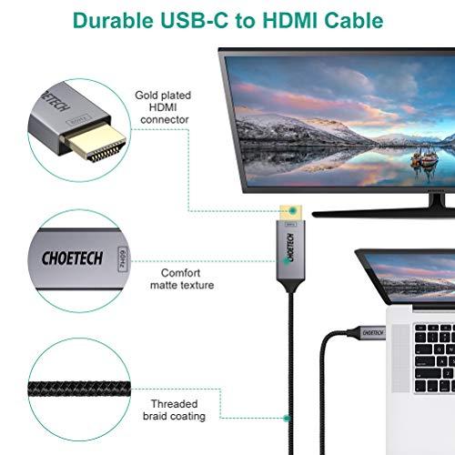 CHOETECH USB C auf HDMI Kabel(4K@60Hz), Typ C auf HDMI Kabel [Thunderbolt 3 Kompatibel] mit Galaxy S10/S9, 2018 iPad Pro/MacBook Air, 2018/2017 MacBook Pro, iMac, MacBook, Chromebook, Huawei Mate 20