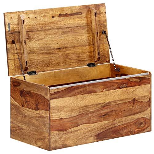 Tidyard Aufbewahrungstruhe Aufbewahrungsbox Spielzeugkiste Sitzbank Truhe Bank mit Stauraum Aufbewahrungskorb,Aufbewahrungsboxen Maße:80 x 40 x 40 cm (L x B x H),Massives Sheeshamholz,Natur