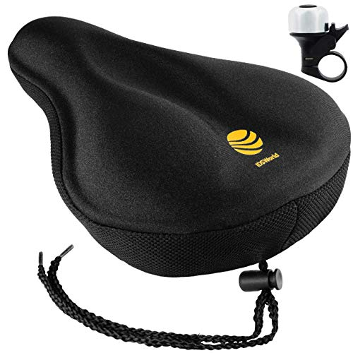 IDSWorld Bicycle Gel Saddle Seat Cushion Cover for Women and Men Comfort Mountain Cruiser Bike Extra Soft Pad Non-Slip Underside Narrow Seats with Bonus Bell