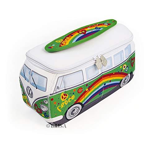 BRISA VW Collection - Volkswagen Combi Bus T1 Camper Van 3D Trousse de Maquillage en Néoprène, Sac à cosmétiques, Nécessaire de Toilette/Culture, Étui de Voyage, Universel, Lunch-Box (Peace/Vert)