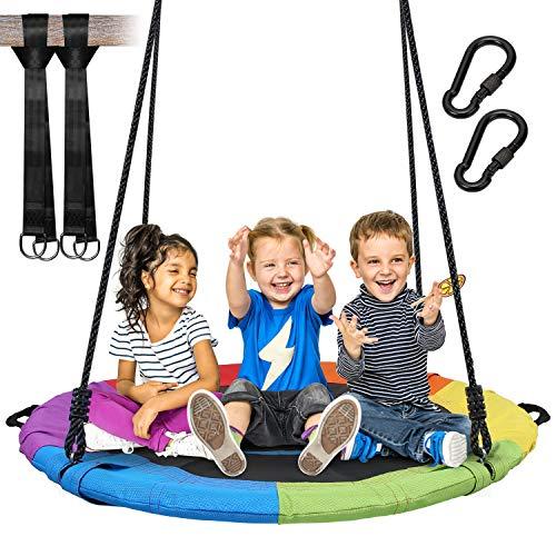 Vanku 320 KG Saucer Tree Swing for Kids Adults 40 Inch Textliene Wear- Resistance Waterproof Frame with 2 Hanging Straps - Rainbow