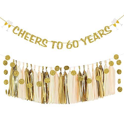 60th Birthday Decorations for Women or Men Cheers to 60 Years Banner with 24 Tissue Paper Tassels and 25pcs Circle