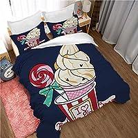 Skjfdmiy ティーンエイジャー、子供用寝具布団カバーに適し漫画アニメーション3ピース羽毛布団カバー、デザートアイスクリームロリポップパターン、快適で通気性のポリエステル生地、ジッパークロージャー、 (Size : 200*229cm)