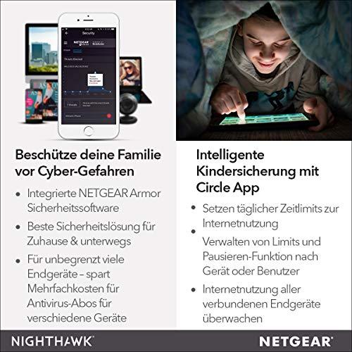 Netgear Nighthawk R6700 WLAN Router AC1750 (Dual-Band, bis zu 1750 MBit/s, Abdeckung bis 100m² & 25 Geräte, 4x LAN-Ports, USB 3.0, inkl. 30 Tage Circle Kinderschutz & Armor Cyberschutz)