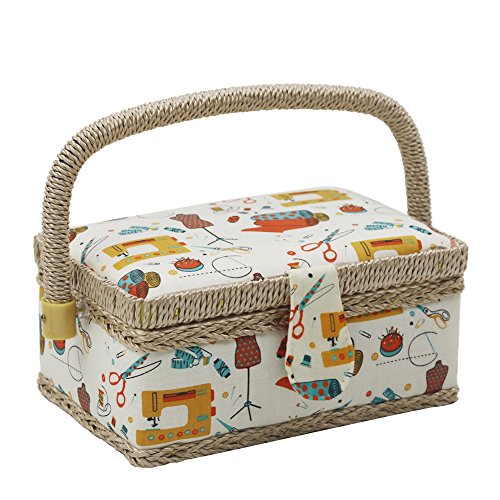 For Sale! D&D Sewing Basket with Sewing Kit Accessories, Small Sewing Box for Kids, Sewing Theme Whi...