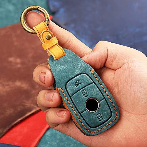 Funda protectora para llave de coche con mando a distancia para Mercedes Benz E Clase S W213 E260 E320 E400 E300 E200 W205 C200 C180 C260 C300 Cuero Smart Key Entrada sin llave (Cian)