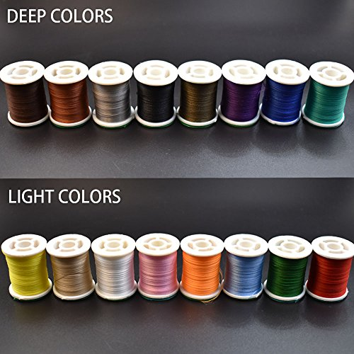 Phecda Sport 16 Colors 150 Derniers Fly Tying Thread Lightly Waxed Multi Filament Yarn Fly Tying Materials (16 Spools Total (8 Light+8 Deep))