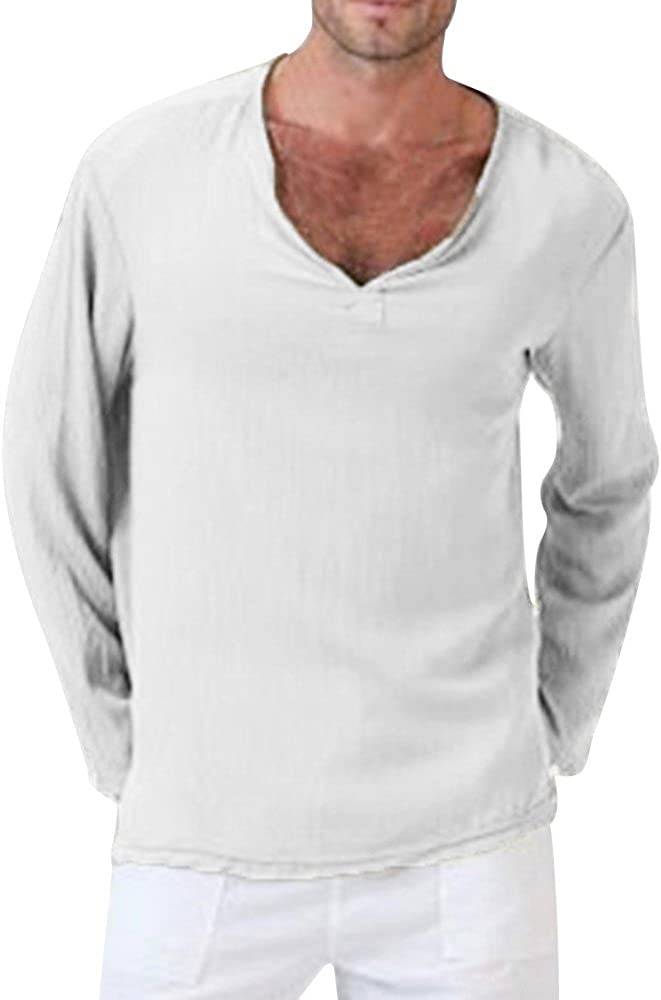 HONGJ Long Sleeve V Neck T-shirts for Mens, Solid Thai Hippie Shirt Plus Size Cotton Wrinkle Casual Comfy Beach Tee Tops