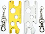 Prime Natural Essential Oil Opener Key Tool with Key Chain, Removes Roller Balls, Caps, Rollers Fitments, Euro Droppers - Golden & Silver (Pack of 2)