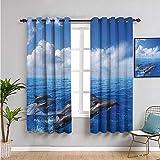 Xlcsomf Cortinas de privacidad insonorizadas para decoración de animales marinos, cortinas de 99 cm de largo, fáciles de instalar, color azul y blanco