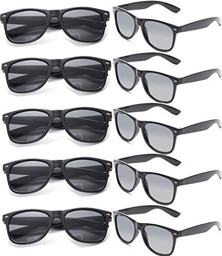 FSMILING Großhandel 80er Jahre Neon farbige Vintage Klassisch Party Sonnenbrille für Herren Damen Kinder (10 Stück schwarz)