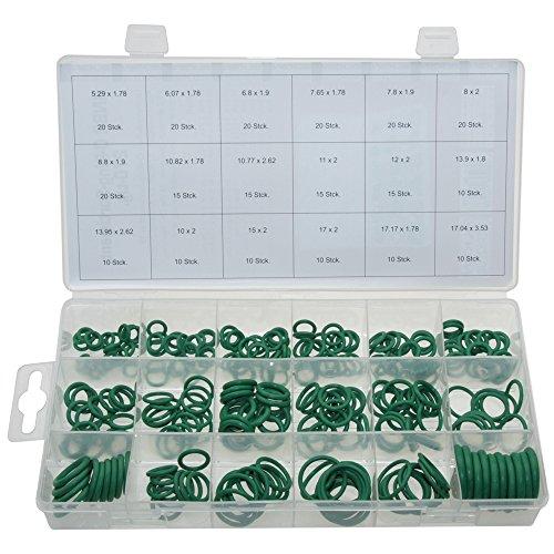 ALKAN O-Ring Dichtring Set 270 tlg. HNBR Dichtung-Satz GRÜN - Für R134a KFZ Klimaanlage temperaturbeständig (in der Aufbewahrungsbox/Sortimentsbox)