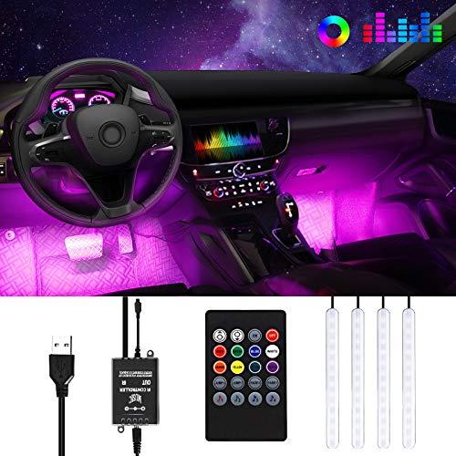Anykuu LED Neon Auto Interni Impermeabile 4 Strisce LED per Auto 8 Colori Controllo Remoto e Suono strisce Led per Auto Funzione Alimentato da USB
