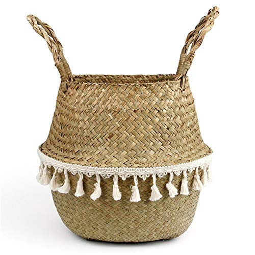 Storage Basket 22cm X 20cm Foldable Handmade Storage Basket Folding Wicker Rattan Seagrass Belly Straw Garden Flower Pot Planter Laundry Basket Home Decor Closet Storage Bins (Color : White)
