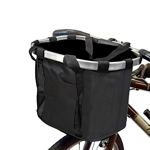 Fahrrad Korb, vorn Mehrzweck Fahrrad Lenker Korb klappbar abnehmbarer Fahrrad Korb Organizer Metall Alu Rahmen Abnehmbare Rad-Pet Fahrradkorb Tasche mit Kordelzug Schließung, 1#