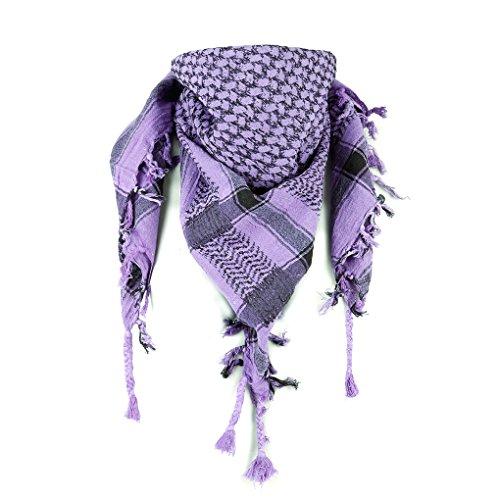 Palituch tweekleurig klassiek PLO sjaal 100x100 cm Pali Palšstinenser Arafat doek 100% katoen - in alle kleuren (zwart/lila)