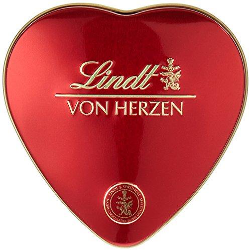 Lindt Von Herzen Pralinen, liebevolle Pralinenmischung in Herz-Dose, das ideale Pralinen Geschenk für Ihre Liebsten, glutenfrei (1 x 30g)