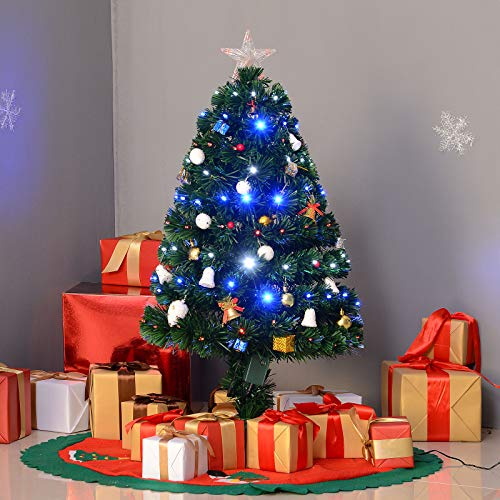 3' Artificial Pre-lit Fiber Christmas Tree Optic 90 LED Lights & Stand Decorated,Green