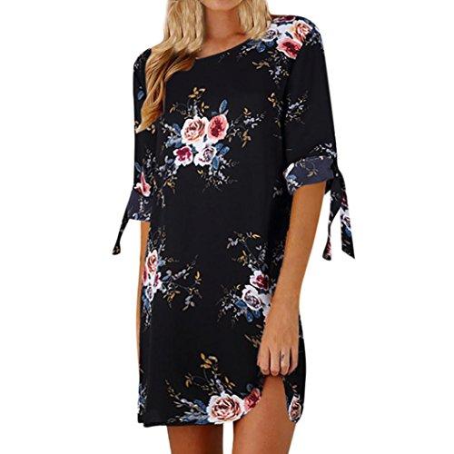 VEMOW Elegante Damen Blumendruck Bowknot Ärmeln Chiffon Cocktail Minikleid Casual Täglichen Party O-Ausschnitt Kleid(Schwarz, 40 DE/S CN)