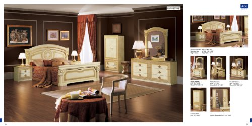 ESF Aida Traditional Ivory With Gold Accents Classic Italian King Size Bedroom Set