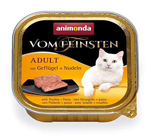 animonda Vom Feinsten Adult Katzenfutter, Nassfutter für ausgewachsene Katzen, mit Geflügel + Nudeln, 32 x 100 g