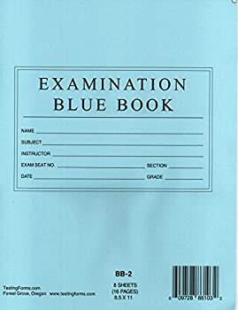 TestingForms.com 8.5  x 11  Examination Blue Book 8 Sheets 16 Pages 10 Booklets