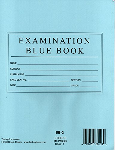 "TestingForms.com 8.5"" x 11"" Examination Blue Book 8 Sheets 16 Pages 10 Booklets"