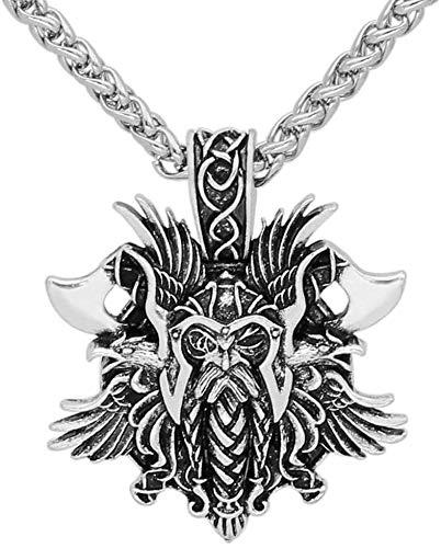 Vikings Colar para Homens, Mythologia Nórdica Odin Face e Machado Corvo, Pingente de Moeda, Joia Antiga Retrô Pagã Celta