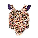 YWLINK Bebé NiñA Traje De BañO De Una Pieza De Playa De Encaje con Estampado De Leopardo Y Hombros Descubiertos Sin Mangas Traje De BañO BañAdor,Bikini De Encaje con Estampado De Rayas